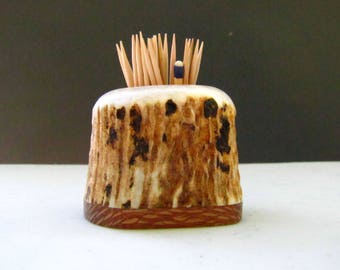 Nice Elk Antler Toothpick Holder, Match Stick Holder, Leopard Wood Base, TP-14