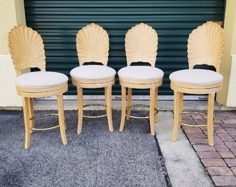 Vintage Shellback Stools | Set of Four | Hollywood Regency | Palm Beach Chic | Beach house