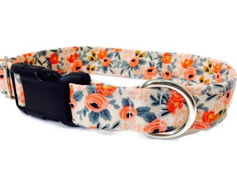 "Rifle Paper Co Dog Collar, Floral Dog Collar, Girl Dog Collar, Peach Dog Collar, Custom Dog Collar, Vintage Inspired, ""The Rosa Collection"""