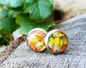 Real Flower Earring Studs,  silver earrings, Post Earrings, Boho Jewelry, Bohemian, Hippie Jewelry, Real Flower Jewelry, Gift for Women