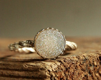 Druzy Gemstone Ring White Quartz Stack Ring Sparkling Jewelry Winter Frost Ice Queen Ring