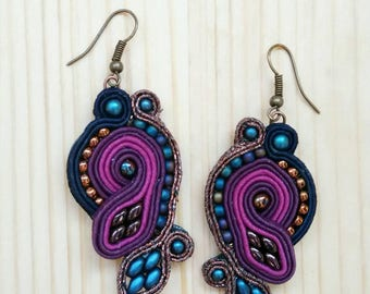 Colorful soutache dangle earrings Gift for her Brown blue lilac bronze middle length dangle earrings