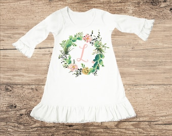Personalized Dress with Cactus Wreath, Monogram