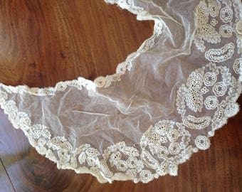 Lace and net edwardian collar 6x24 inches