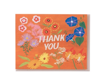 Rusty Orange Floral Thank You Card