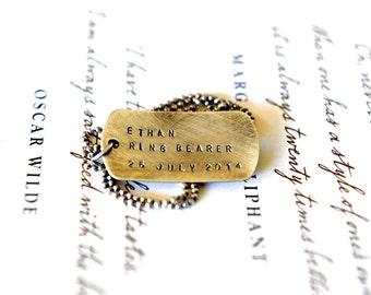 Ring Bearer - Wedding Party Ideas - Rustic Wedding - Hand Stamped Dog Tag - Weddings - Rustic Boy Gift - Rustic Dog Tag - Wedding Ideas