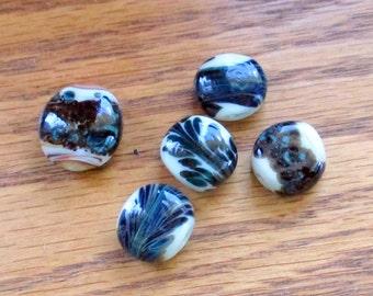 Lentil Lampwork Beads, Blue lentil lampwork,  Blue and while lampwork. Free from lampwork beads,coral lampwork