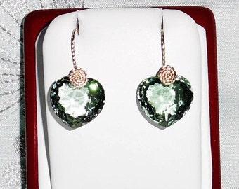 Natural 32cts Heart Green Amethyst gemstones, 14kt yellow gold Pierced Earrings