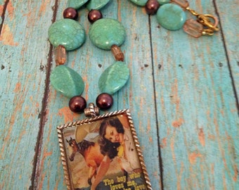 cowgirl western jewelry, collaged with resin pendant, beaded necklace, southwest flare, vintage cowgirl