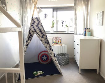 "Tipi tent ""HERO"" with mat - maritime teepee, teepee tent, play tent, canvas teepee, wigwam, speeltent, toddler tent, indoor tent, play mat"