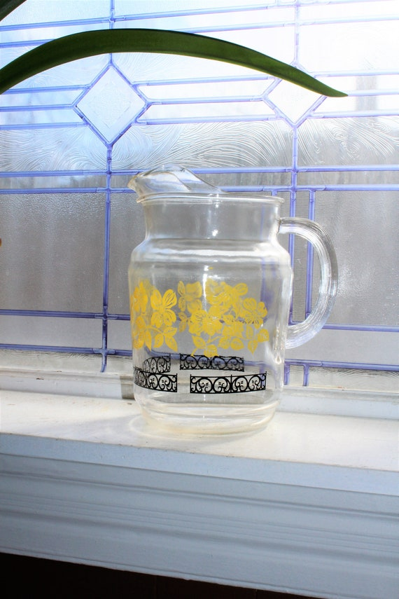 Vintage Glass Pitcher Black and Yellow Pattern Mid Century Decor