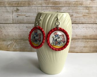Snoopy Patriotic Earrings, Snoopy Flag Earrings, Snoopy Uncle Sam Earrings, Red White Blue Earrings, USA Flag Accessory, Snoopy Flag