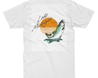80s Inspired Lake Michigan Souvenir T-Shirt w/ fish