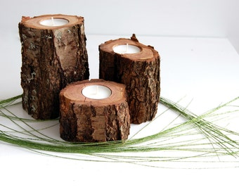 Tree Branch Candle Holders Set Of 3, Wooden Tealight Holders, Hygge Decor, 5th Anniversary Gift, Mother's day gift, Reclaimed Wood Candles
