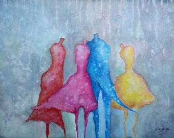 THE MANNEQUINES BALL acrylic on canvas with certificate of authenticity