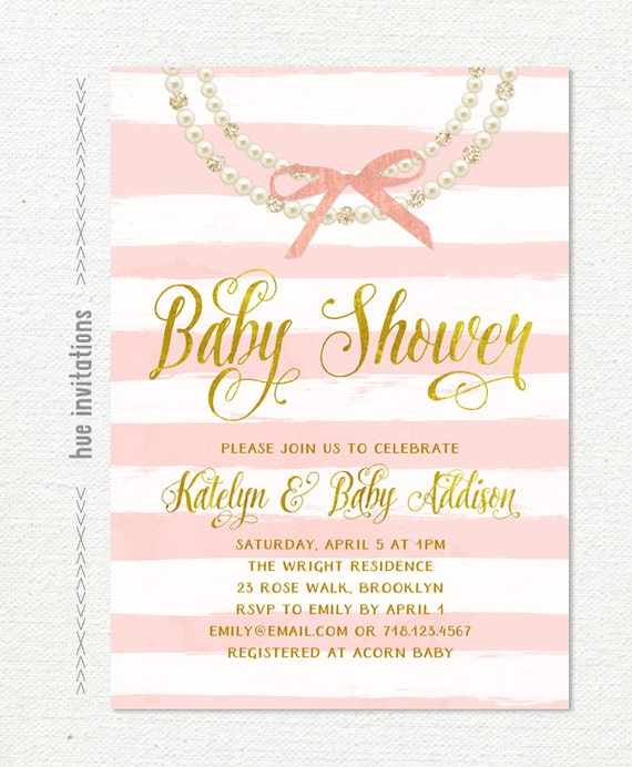 Pearls Baby Shower Invitation, Gold Pink Bow Glitter Diamonds Pearl  Necklace Girl Baby Shower Invite, Faux Gold Foil Digital Invite 299
