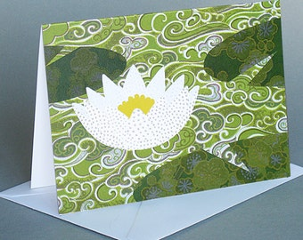 Water Lily: A nature inspired blank notecard , origami paper, summer