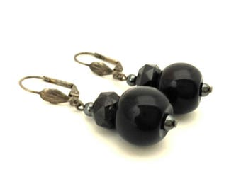 Vintage Black Obsidiane Round & Facet Stone Silver Plated Leverback Handmade Earrings