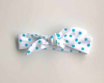 Baby/toddler tie knot headband- white with turquoise dots