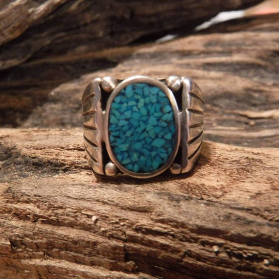 Mens Ring Sterling Silver Navajo Signed Native American 11.2 Grams Size 9.5 Mens large Silver Navajo Vintage Turquoise  Ring Mens Jewelry