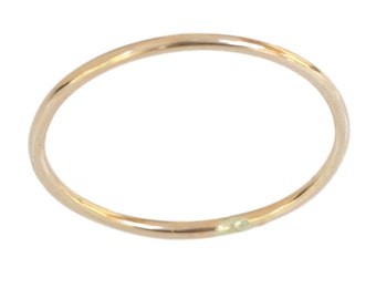 14k gold 1mm thin plain thumb ring