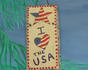 "Vitage 1980's Slate Art ""I LOVE the USA "" Patriotic, Handpainted, Red White & Blue, Natural Slate, Gift"