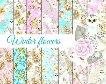 Winter flowers paper, Winter patterns, Glitter winter paper, White owl and flower papers, Floral pattern, White flower patterns, watercolor