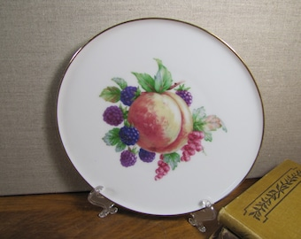 JKW - Fine Porcelain - Fruit Pattern Plate - Peach and Berries - Made in Western Germany