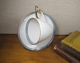 Scherzer - Spring Blue - Teacup and Saucer Set - Blue and Gold Rim - Bavaria, Germany
