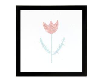 Tulip Art Print with Quote