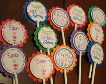 ABC/123 Girls Cupcake Toppers