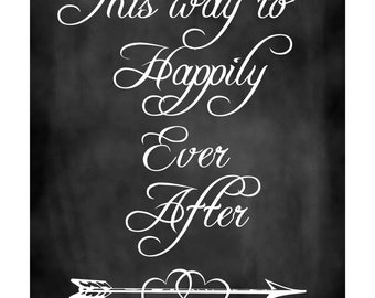 Charming Rustic Wedding Happily Ever After Chalkboard Sign