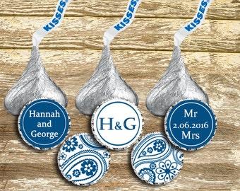 Hershey Kisses Stickers - Blue Wedding Favor, Hershey Kisses Label, Navy Wedding, Personalized Wedding, Wedding Sticker, Anniversary Favors