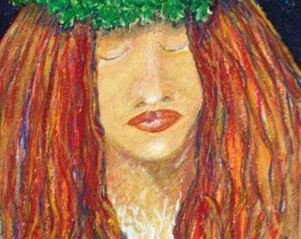Madame Pele I - original oil pastel painting