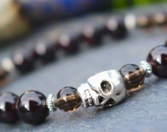 Grounding ॐ Garnet & Smoky Quartz Skull Mala Bracelet