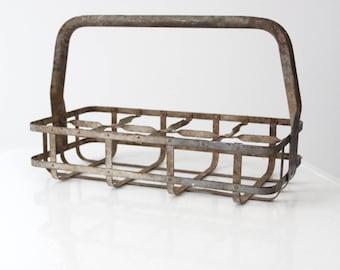 vintage milk bottle carrier, metal tote basket