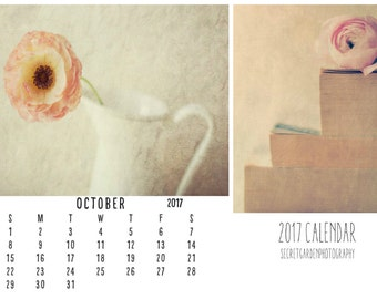 2017  calendar, Art calendar, Year Calendar - flower, fine art photography, wall desk calender, planner, stilllife, wall art, home decor