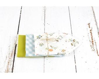 Organic cotton, printed White Circus child handkerchiefs, blue, olive green, set of 3 washable handkerchiefs, zero waste