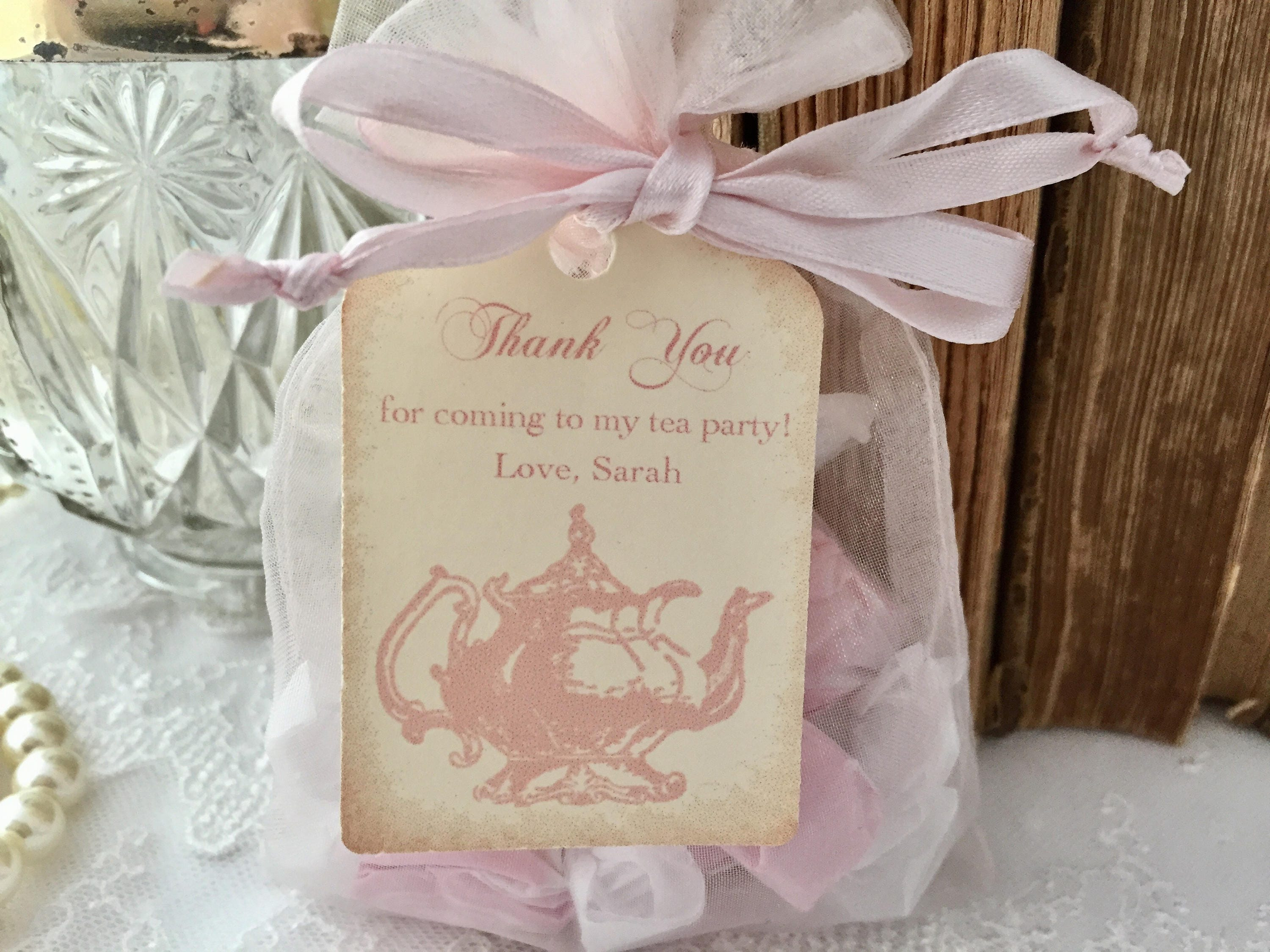 Tea Party Favor Set Organza Bags and Teapot Tags Blush Pink