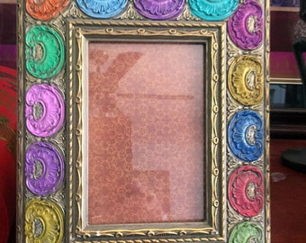 "Hand Painted Bohemian Wood Gold Decorative Picture Frame  8""W10""Hx1""D Pic. 5""Wx7""H  F0080"