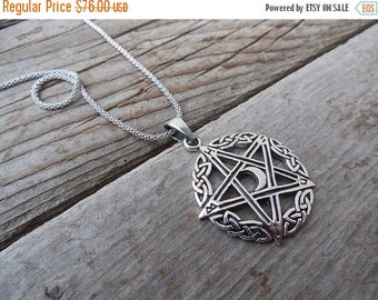 ON SALE Celtic five point star with new new necklace handmade in sterling silver