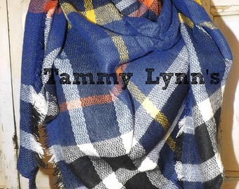 NEW!  Royal Blue, Black, Mustard Plaid Triangle Blanket Scarf Women's Fall Winter Accessories