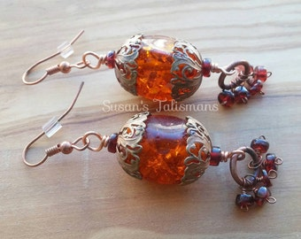 Amber Lantern Earrings with Garnet