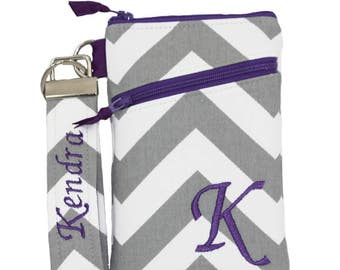 Gray chevron and purple  iPhone 8 Wallet with Asymmetric pocket, Personalized iPhone 7 / 8 plus Cover, Samsung Galaxy S8 /S8 Plus. (PKWAZ)