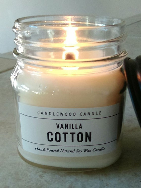 Vanilla Cotton - Limited Edition - Apothecary Mason Jar Candle - Natural Soy Wax + Wood Wick 9 oz with Black Lid