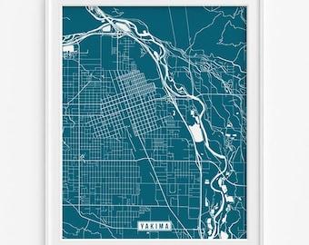 Yakima Print, Washington Poster, Yakima Poster, Yakima Map, Washington Print, Washington Map, Street Map, Home Decor, Fathers Day Gift
