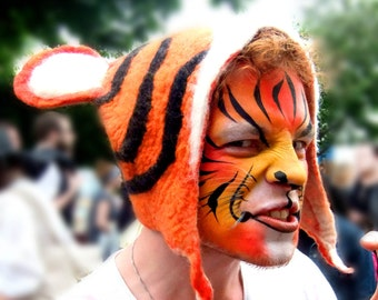 Tiger Festival Wear, Animal Cosplay Headdress, Fancy Dress Costume Hat, hand felted orange & black striped jungle animal for men and women