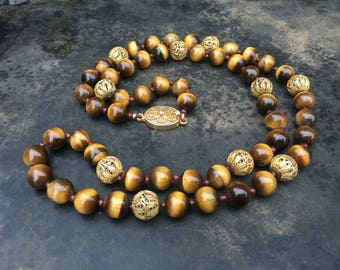 Vintage Chinese export necklace of tigereye with vermeil filligree beads and clasp