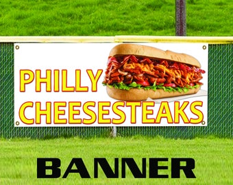 Philly Cheese Steaks Food and Drink Restaurant Advertising Vinyl Banner Sign