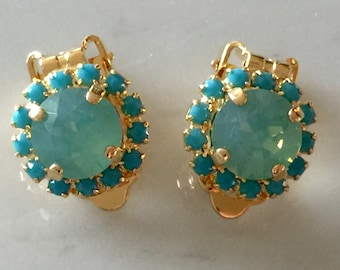 Pacific Opal & Turquoise Swarovski Crystal Clip On Earrings, Yellow Gold